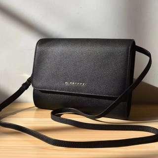 Burberry Leather Flap Bag Black