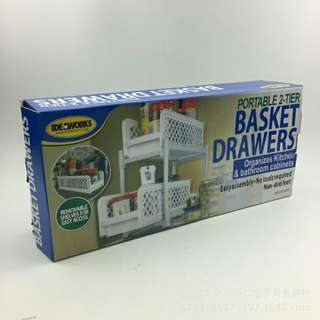 PORTABLE TWO TIER BASKET DRAWER