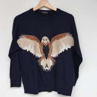 Knitwear sweater, knitwear wanita, eagle prints, free size