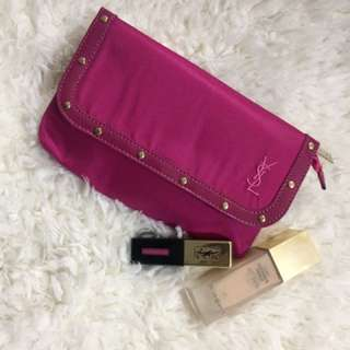 YSL 桃紅色化妝袋
