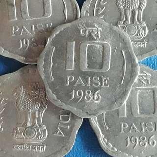 10 COINS LOT - 10 Paisa Aluminium - aUNC / UNC - india  - 1983 -> 1993