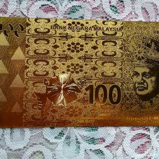 Gold banknote RM 100