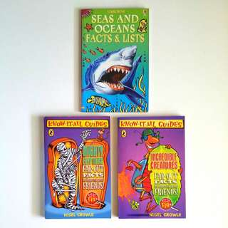 Know-It-All Guides: Mighty Egyptians and Incredible Creatures, Usborne Seas and Oceans Facts & Lists (3 book lot to clear together)