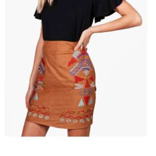 Tan Embroidered Skirt