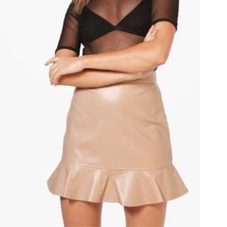 Faux Frill Leather Skirt