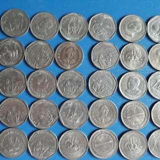 100 COINS LOT - 1 Rupee Commemorative MIXED - aUNC / UNC - india