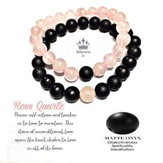 Distance bracelet genuine rose quartz & matte onyx