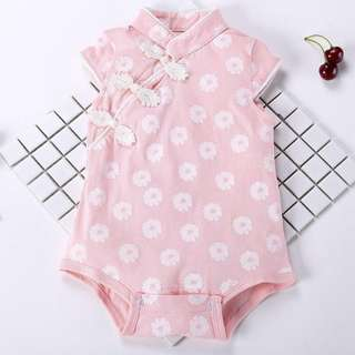 [instocks] Pink Flowery Cheongsam / Qipao / Romper / Onesies Chinese New Year for Baby Girls from 3-12 months