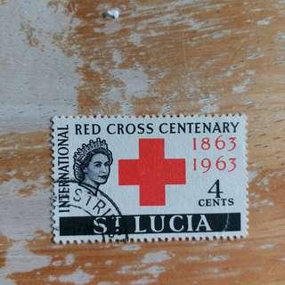 英屬聖露西亞郵票1963年红十字會成立百年纪念已銷郵票