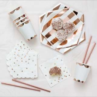 Copper Rose Gold Plates and Cups