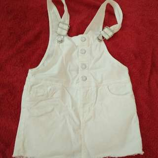 H&M white denim bib overall dress