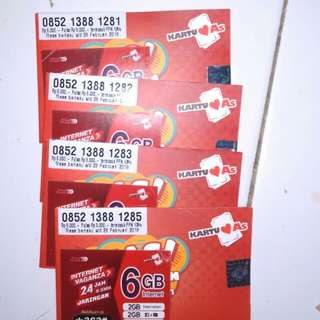 Kartu kuota as 6 GB fresh 2 bulan