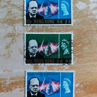 香港郵票1966年 英國總統邱吉爾纪念已銷郵票
