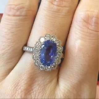 Tokyo jew show pre-view, super good price !!! Unheated 1.93ct blue sapphire ring with diamonds