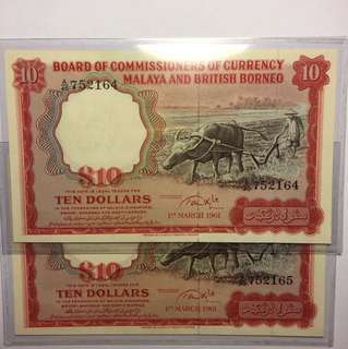 1961 Malaya & British Borneo Buffalo A/40 752164-65 RUN UNC