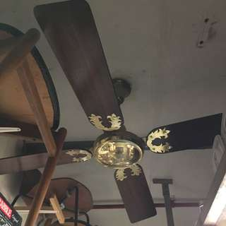 "Vintage 48""wood blades ceiling fan 舊吊扇 連全新變速制"