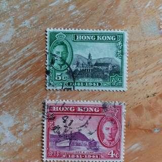 香港1941年開埠百周年纪念已銷郵票2枚A01