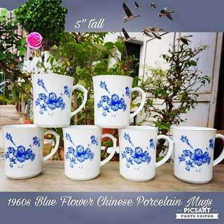 1950s Vintage Porcelain Mugs with Blue Hibiscus Motif. Unused, Good Condition, no chip no crack. 6 pcs for $25 clearance offer.  Sms 96337309.