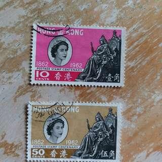香港1962年百周年纪念已銷郵票2枚