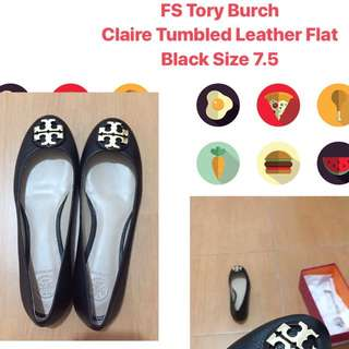 Tory Burch Claire Tumbled Leather Flats Black Sz 7.5