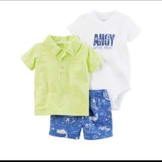 *24M* BN Carter's 3 Piece Bodysuit and Shorts Set For Baby Boy