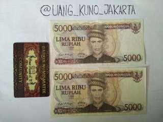 Uang kertas Rp. 5.000 seri Tengku umar thn 86