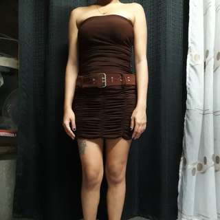 PRELOVED TUBE PARTY DRESS BROWN