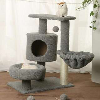 (LAST 3/INSTOCK) Brand New Grey 3 Tier Cat Tree House