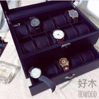 🚚 高級PU皮革 錶盒 置物盒 飾品盒 黑色時尚