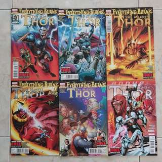 """The Mighty Thor Vol 1 (Marvel Comics 6 Issues, #18 to 22 plus Annual #1, story arc on """"Everything Burns"""". #22 is the final issue for this title series)"""