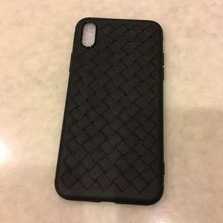 全新 - 黑色織帶款軟膠全包邊iphoneX電話殻
