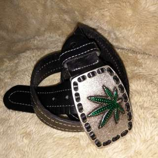 Belt Leather Marijuana Leaf Buckle