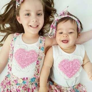 Newborn Baby Girl / Sister Sleeveless Top+Floral Shorts & Skirt+Headband 6pc Set