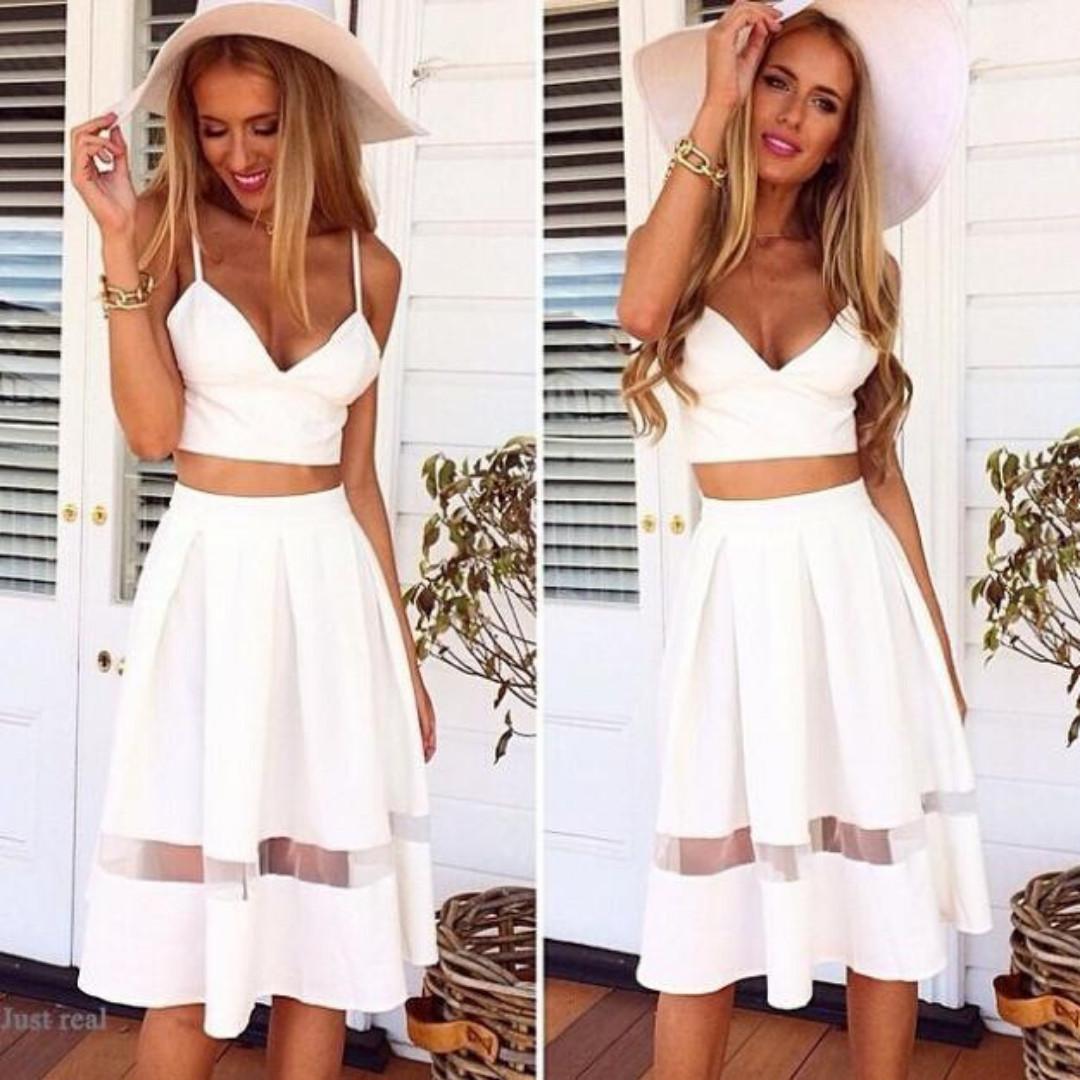 2-piece dress set, padded crop top with long, sexy, mesh panel, A-line dress/skirt; White, Medium