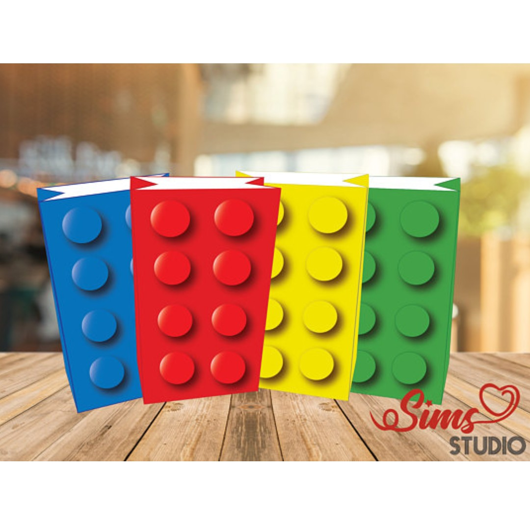 3d building block party bags printable lego block favor bag
