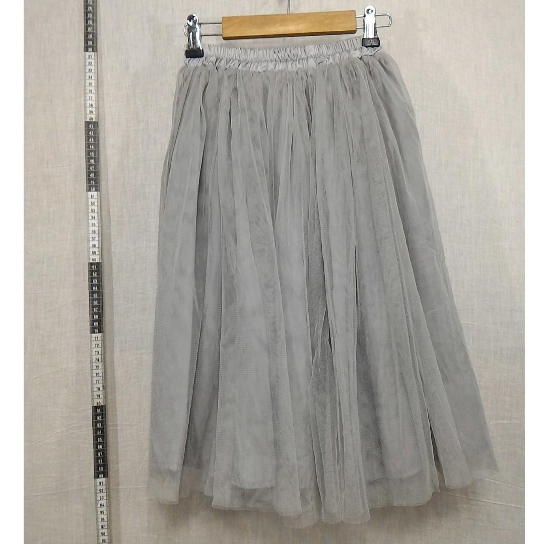 41118124-銀灰色鬆緊帶紗裙