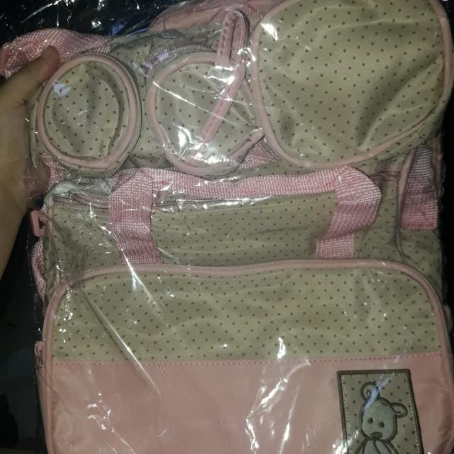 5 in 1 diaper bag pink
