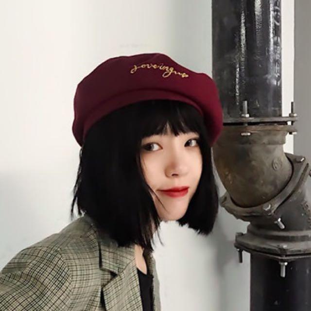 金線字母刺繡毛絨貝雷帽(復古畫家帽)