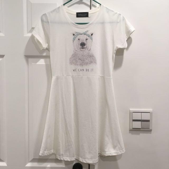 轉賣)北極熊白色洋裝/傘狀長上衣