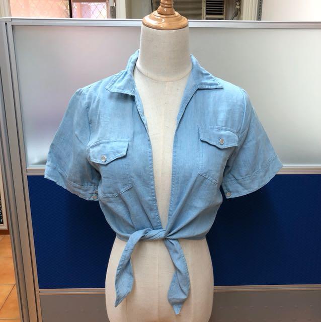 藍色短板綁帶短袖上衣