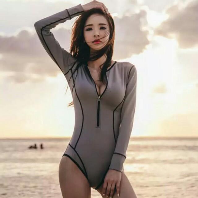 韓版性感長袖連身泳衣