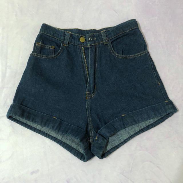 復古高腰牛仔短褲