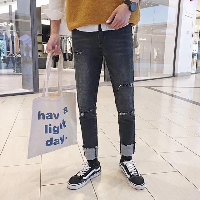 反折刀割修身牛仔褲