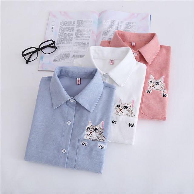日系文藝清新貓咪刺繡白襯衫