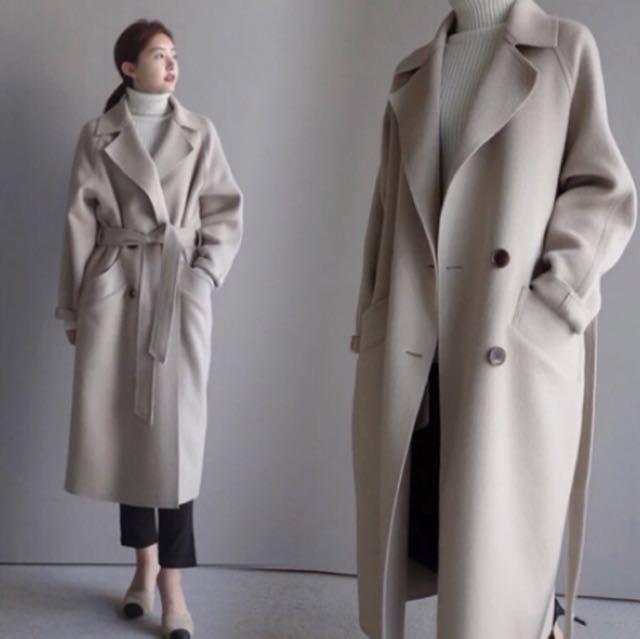 大推款❄️韓版 長版排釦綁帶西裝大衣外套🧥