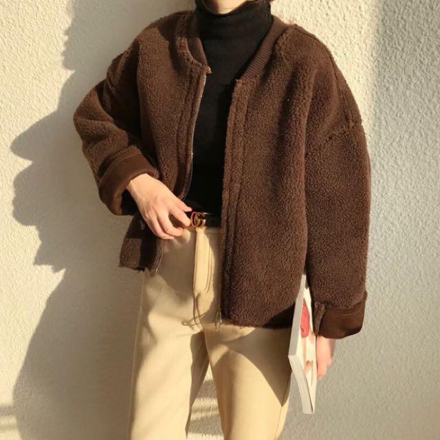 韓版 羊羔毛熊寶寶夾克棒球外套
