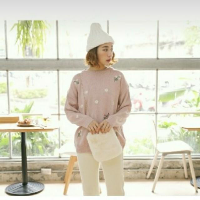 粉色 針織 刺繡 毛衣