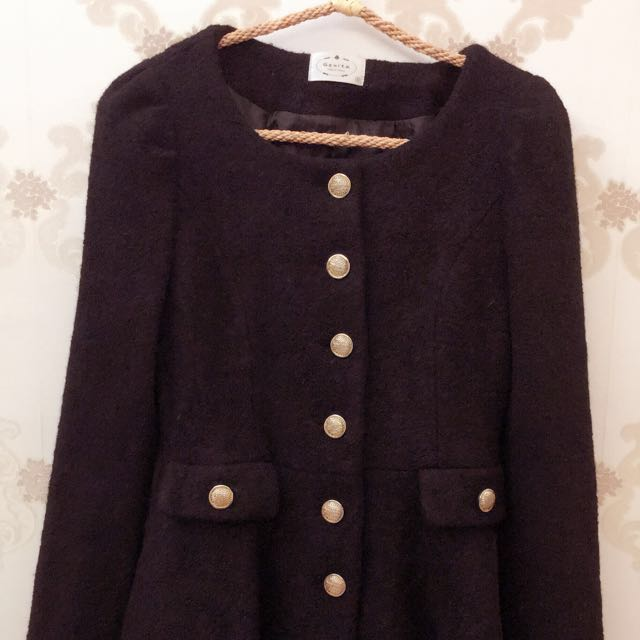 正韓 韓國製 碳灰黑 外套 大衣
