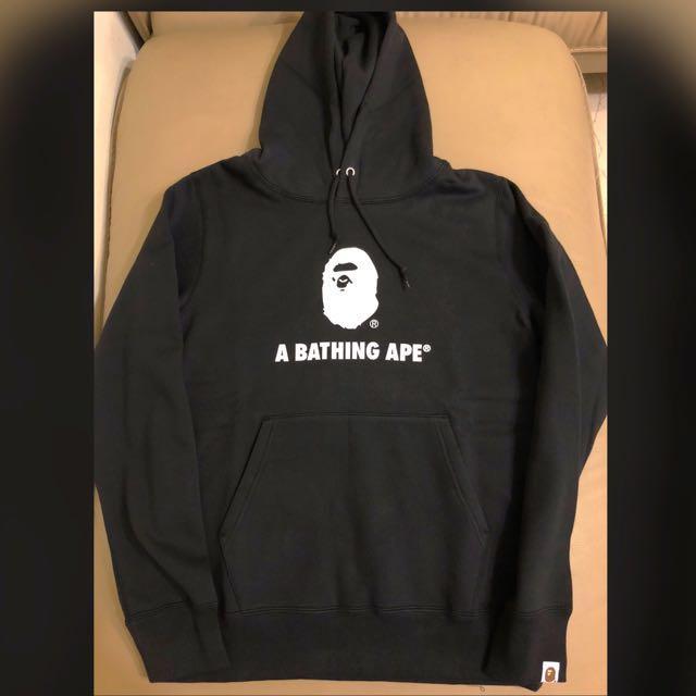 A Bathing ape bape 猿人頭 黑色 連帽帽T