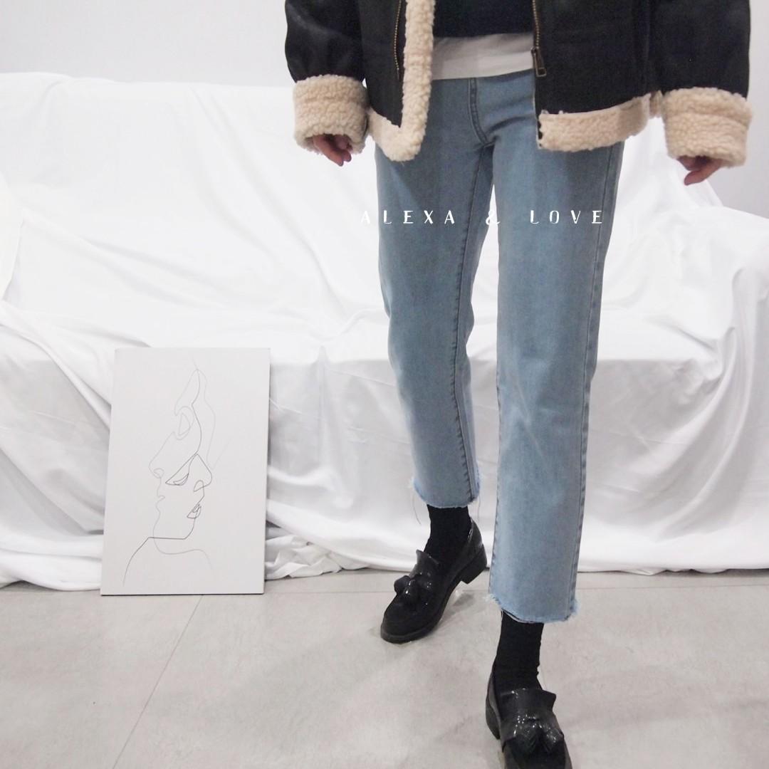 Alexa&Love 韓系街頭直筒復古寬鬆高腰淺藍九分褲牛仔褲大尺碼